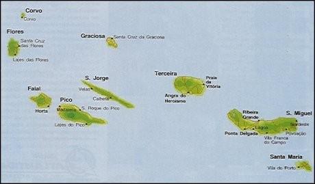 Mapa Arquipélago dos Açores