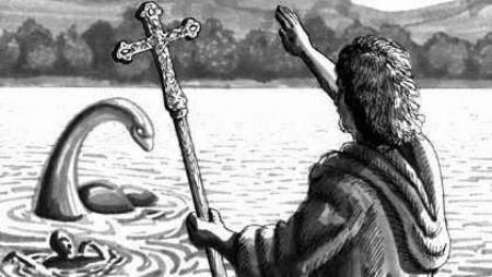 Ilustração de São Columba & o Monstro do Lago Ness