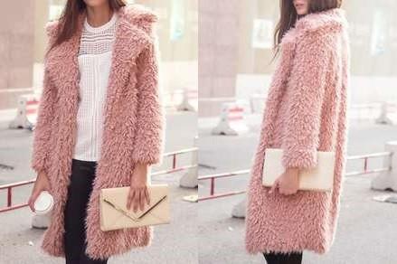 Lapel Pockets Long Pink Coat.jpg