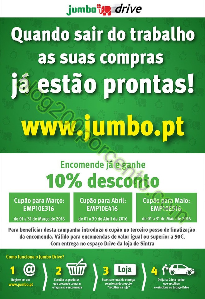 Novos cupões de desconto JUMBO promoções de 1 m