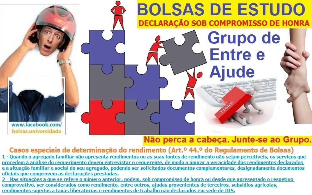 Bolsas de Estudo Ensino Superior Declaração Sob Compromisso de Honra e Esclarecimento da Situação Económica do Agregado