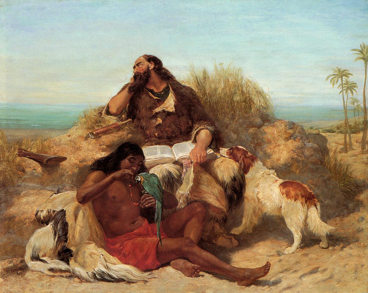Robinson Crusoé e o Sexta-Feira. John Charles Dollman (1851-1934)