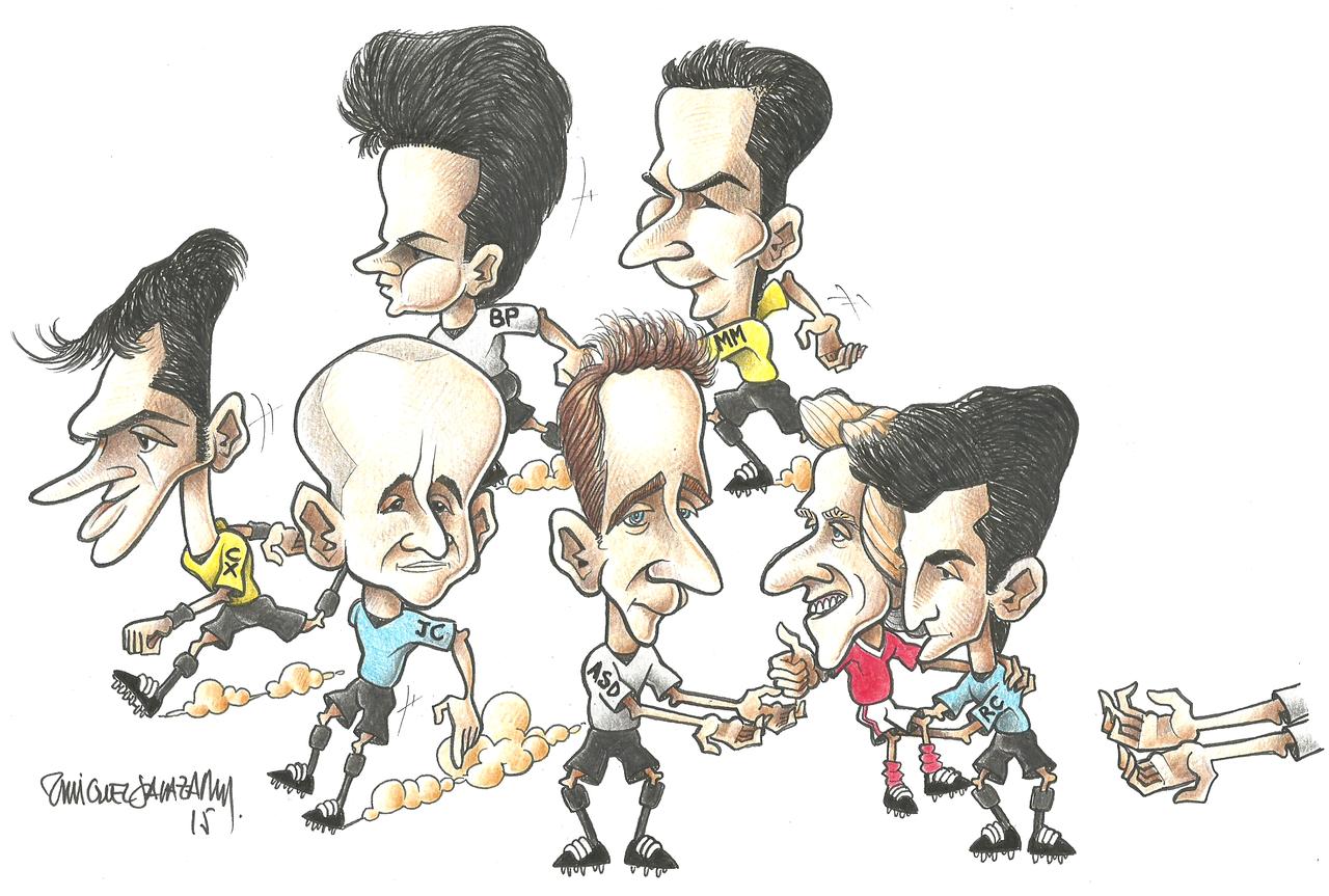 Carlos Xistra, João Capela, Bruno Paixão, Artur Soares Dias, Manuel Mota, Jorge Jesus (ao colinho) e Rui Costa