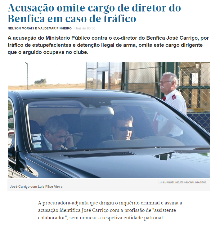 Porta 18 - Acusação omite cargo de diretor do Benfica em caso de tráfico
