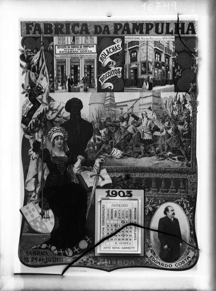Calendário publicitário da fábrica de bolachas