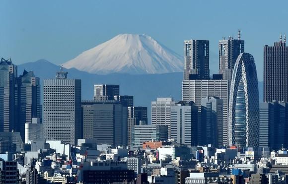 Monte Fuji e a cidade de Tóquio, Japão
