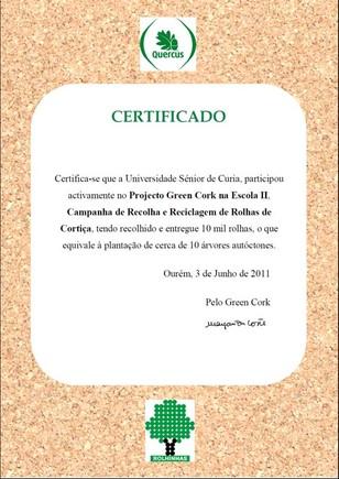 Certificado green cork